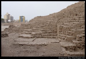 Huaca Pucllana, an adobe pyramid in the middle of Lima. Lima, Peru