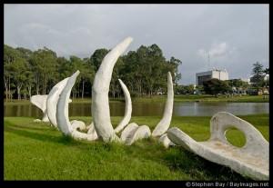 Whale bone artwork. Ballena. La Sabana Park, San José, Costa Rica.