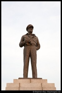 A statue of General Douglas McArthur stands in the middle of Jayu Park in Incheon, South Korea.