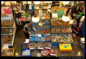 A vendor at the Noryangjin Fish Market in Seoul checks on his wares.