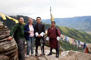 Stephen, Kara, Pema and Ugyen on the hike to Tiger's Nest.