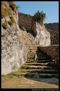 A crumbling stairway at Machu Picchu, Peru.